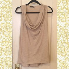 Cowlneck Tank Very beautiful semi sheer beige knit tank  66 cotton 34 rayon Cyrus Tops Tank Tops