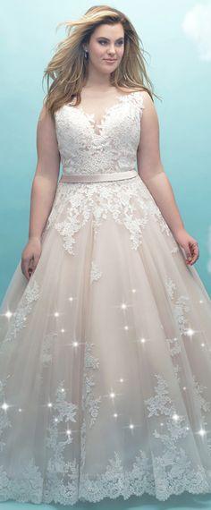 Wonderful Tulle Bateau Neckline A-line Plus Size Wedding Dress With Lace Appliques & Belt