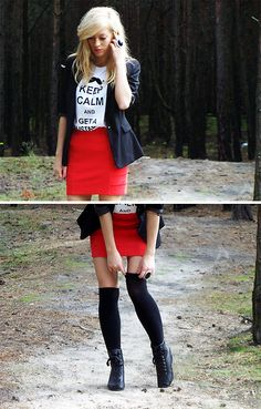 Cute idea with the tight skirt loose t-shirt and black blazer
