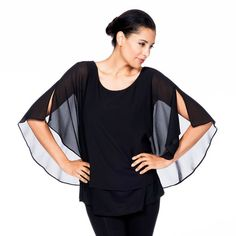 Split Sleeve Top in Black