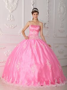 Appliqued Pink Ball Gown Strapless Floor-length 2013 Dress for Quince in Lace
