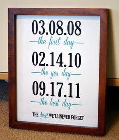 The most important dates in your lives together! When it began, when he asked, and when you both said I DO! Such a cute idea Anniversary gift ideas #anniversarygifts