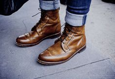 How Lace Boots Brogue Lacing Pattern Shoelaces Men Fashion Style http://theidleman.com/grenson-fred-leather-brogue-boot-tan.html
