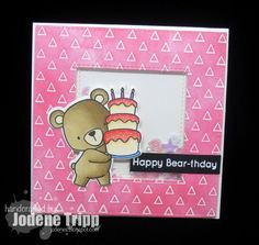 card with critters bear MFT Beary Special Birthday Stamp Set Die-namics #mftstamps Happy Bear day by Jodene   Happy Bear-thday card for The Scrapbook Store