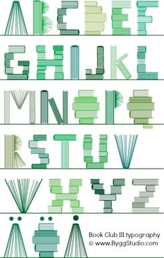 Book alphabet (sub/short lesson idea: have students design their own font/alphabet using a repeated object) Cool Typography, Typography Letters, Typographie Fonts, Schrift Design, Alphabet Art, Flat Design, Word Art, Graphic Design, Hand Type
