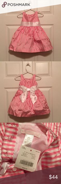Janie and Jack Dress-silk pink and white gingham Exquisite gingham silk taffeta party dress! Just in time for Spring. Built in petticoat gives just the right amount of fullness. Diaper cover included. 100% silk body. 100% polyester lining and diaper cover. Dry clean only. Janie and Jack Dresses Formal