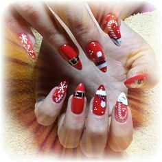 #nails #Christmas #red #stiletto #art
