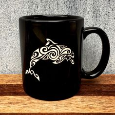 Exciting new product available now: Black Coffee Mug ... We look forward to your order! http://integritybottles.com/products/black-coffee-mug-with-tribal-sea-animals-deep-etched?utm_campaign=social_autopilot&utm_source=pin&utm_medium=pin  #integritybottles