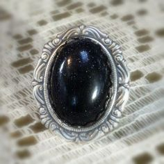 Purple Blue Ring Midnight Blue Glass Ring Victorian by pink80sgirl, $32.00