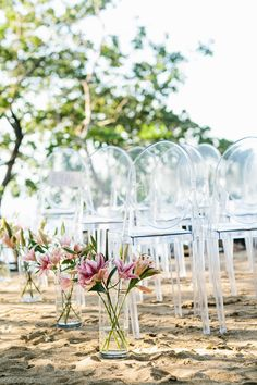 Outdoor Elegance with Victoria Ghost chairs Wedding Aisle Outdoor, Outdoor Ceremony, Wedding Ceremony, Outdoor Weddings, Ghost Chairs, Kartell, Simple Weddings, Wedding Ceremonies, Floral Arrangements