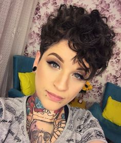 Short Curly Pixie, Curly Pixie Hairstyles, Curly Hair Styles, Haircuts For Curly Hair, Curly Hair Cuts, Cool Hairstyles, Brown Hairstyles, Dreadlock Hairstyles, Short Haircuts