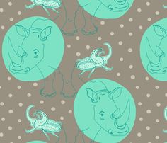 rhinoceros [beetle] fabric by aplcreations on Spoonflower - custom fabric, wall paper and wrapping paper.