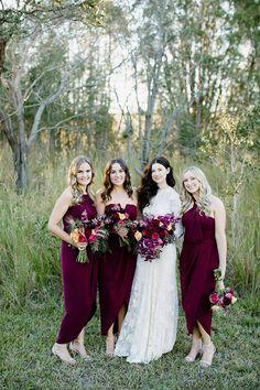 SHONA JOY   bridesmaids. RUE DE SEINE   bride.  maroon. white. bridal. wedding. evening gown. dresses.