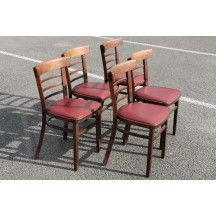 8 chaises  lattes acier rouges et noires industrielles chaise