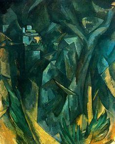 La obra representa una vista del pueblo de Estaque y se relaciona con una serie de paisajes que el artista pintó de esta localidad de la zona de Marsella