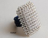 Elegant Royal Blue Cocktail Ring, Seed Bead Ring, Statement Ring, Art Beadwork Ring, 3D RAW, Elegant Beadwoven Jewelry, Unique Gift, OOAK