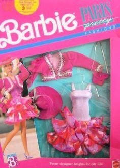 Mattel Hawthorne 6558 Barbie Paris Pretty Fashions Pretty Designer Brights For… 1980s Barbie, Barbie Box, Barbie Skipper, Barbie And Ken, Barbie Dress, Barbie Outfits, Barbie Stuff, Vintage Barbie Clothes, Doll Clothes