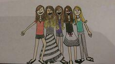 Tiffany Frey original. Girls characature.