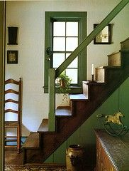 Nice for the stairway downstairs. Love the green and the dark wood of the stairs.