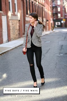 The Nouvel Jacket/Maroon Combo Blouse