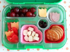 DIY lunchables of the Healthy variety by Ladybug Lunches in Yumbox Just add a colorful Lunchbox Love Note from sayplease.com to really make it pop!