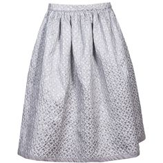 Silver Dust Midi Skirt ❤ liked on Polyvore featuring skirts, knee length pleated skirt, high waisted circle skirt, skater skirts, midi skirt and flared midi skirt