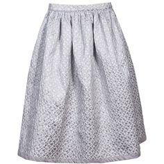 Silver Dust Midi Skirt ❤ liked on Polyvore featuring skirts, knee length pleated skirt, high waisted circle skirt, skater skirts, midi skirt and flared midi skirt