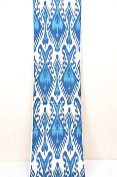 Blue Silk Ikat fabric 3 yard of 100%Hand woven by EasternHomeDecor