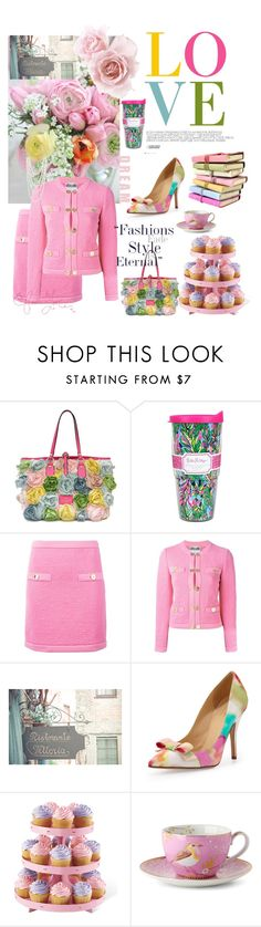 """""""pink petals"""" by prettybrenda ❤ liked on Polyvore featuring Valentino, Lilly Pulitzer, Moschino, Tiffany & Co., Kate Spade and PiP Studio"""