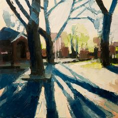 Park Trees: A Sunday afternoon spent with some palette knives and a 10″ wood board.