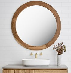 Loughlin Furniture : home Beautiful Mirrors, Beautiful Bathrooms, Exterior Design, Interior And Exterior, Timber Vanity, Round Mirrors, Decorating Tips, Powder Room, Bathroom Ideas