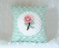 """""""Love Note"""" pink pillow cover with vintage chenille 