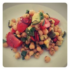 Chickpeas with grilles vegetables. A recipe from Carte postale by Vasiliki.