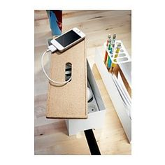 IKEA - KVISSLE, Caja para cables, Recarga el móvil y el reproductor de MP3 y oculta el cargador y el cable bajo la tapa de la caja.Orificio para los cables en la tapa y en los lados cortos.Base elevada con aberturas para dar salida al calor de los cargadores.