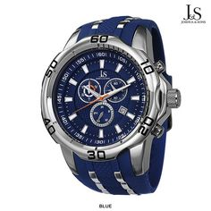 Joshua & Sons Men's Bold Watch with Silicone Strap - Assorted Colors