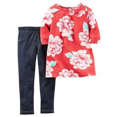Carter's Newborn, Infant & Toddler Girls' Tunic Top & Leggings - Floral