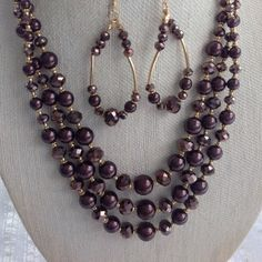 3 Strand Chocolate Brown Crystal beads necklace set, Bridesmaid accessory, Bridal necklace, Pearl Crystal jewelry, Holiday gift boss by blingscarves. Explore more products on http://blingscarves.etsy.com