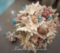 Exotic & sublime Beach Wedding Bridal Bouquet of Shells and by romanticflowers, $220.00