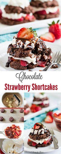 Chocolate Strawberry Shortcake #strawberryshortcake #minidessert #minicakes