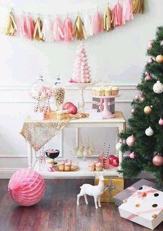 bar cart xmas decorating w/pink tassel garland