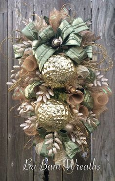 Shabby Chic, Mint Green Christmas, Golden Christmas, Christmas Wreath, Christmas Swag, Christmas Door Hanging, Holiday Wreath, Holiday Swag, Winter Wreath, Winter Swag  Im Dreaming Of Mint Green & Golden Christmas~ Shabby Chic Style.....fine details, lush decor.....this swag is so Stunning ~ youll be saying I want more.  Now make your door/entry/mantel dazzling with this gorgeous swag!!! Made with stunning holiday sprays & designer ribbons, beautiful ornaments and radiant style~ this swag is…