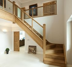 Double Stairs Entrance Banisters Ideas For 2019 Wooden Staircase Design, Wooden Staircases, House Stairs, House Design, House, Stair Handrail, Building A House, House Plans, New Homes