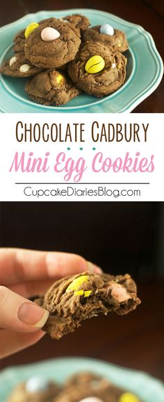 Chocolate Cadbury Mini Egg Cookies - Chewy, chocolatey cookies filled with bright and creamy Cadbury mini egg candies. A perfect treat for Easter and springtime!
