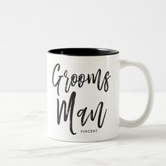 Groomsmen Script Style Custom Wedding Two-tone Coffee Mug Groomsmen Gifts Unique, Groomsmen Gift Box, Be My Groomsman, Groomsman Gifts, Diy Gifts For Men, Gifts In A Mug, Personalized Bridal Shower Gifts, Wedding Mugs, Name Mugs