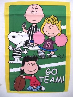 """Snoopy Small Garden Flag Go Team! Football 12"""" x 18"""" Featuring Charlie Brown, Lucy, Sally, Snoopy - Peanuts $13.95 #Snoopy #Peanuts #CharlesShulz"""