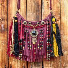 Boho hippie fringe purse, gypsy crossbody festival bag, vegan leather handbag, red fringed bag, boho bags and purses