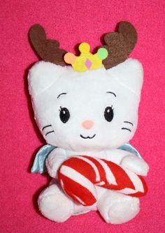 "Dan Dee about 6"" Yuko Shimizu ANGEL CAT SUGAR Plush Soft Toy Holds a plush Christmas Candy Cane #DanDee #Christmas"