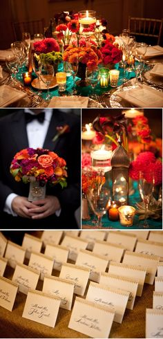 I LOVE THIS SO MUCH!!! Indian inspired colors but still a traditional wedding. Perfect to wear a sari for the reception :)