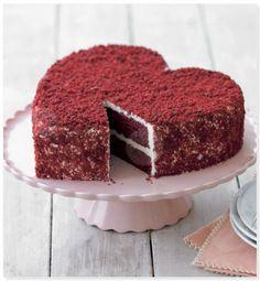 heart-shaped red velvet cake. gimme.