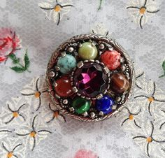 signed MIRACLE PEBBLE BROOCH Fruit Salad Round by PrettyOldJewels